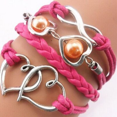 Hot Pink Double Heart Infinity PU Leather Bracelet