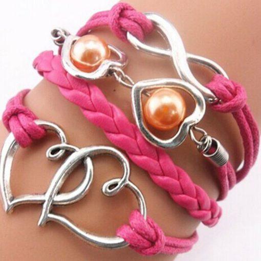 Hot Pink Double Heart Infinity PU Leather Bracelet