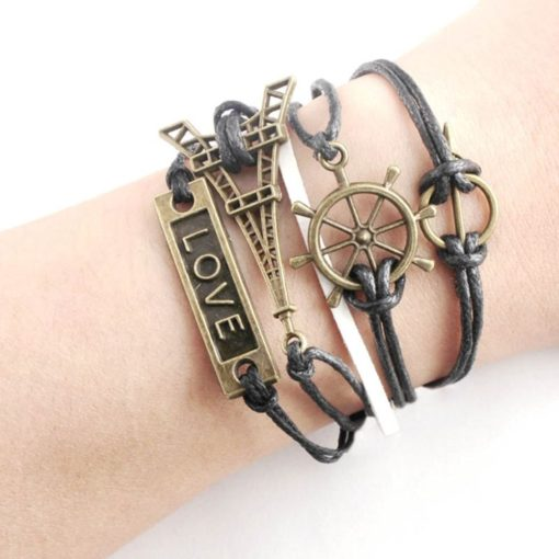 Eifel Tower Love & Arrow PU Leather Bracelet