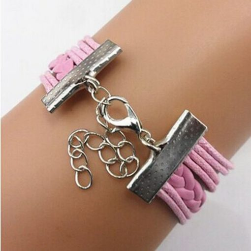 Pink Wings & Love Birds with white Pearl PU Leather Bracelet