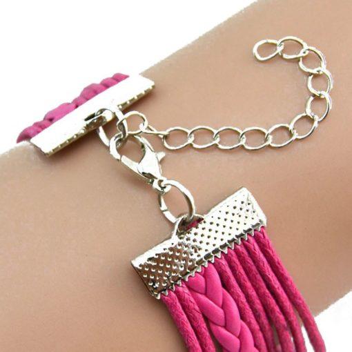 Owl Infinity Leather Bracelet