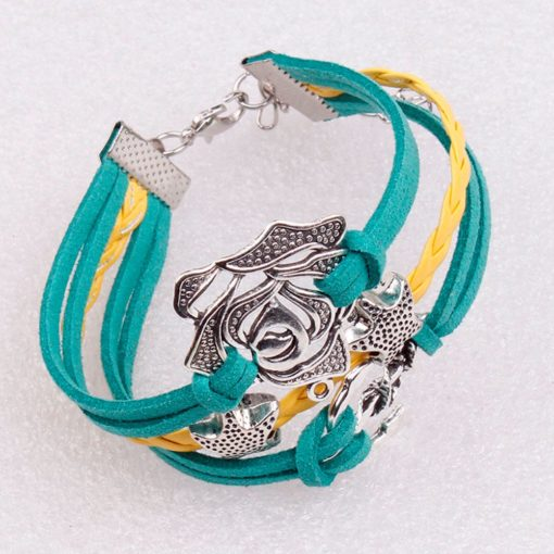 Rose & Anchor with Stars PU Leather Bracelet in Green & Yellow