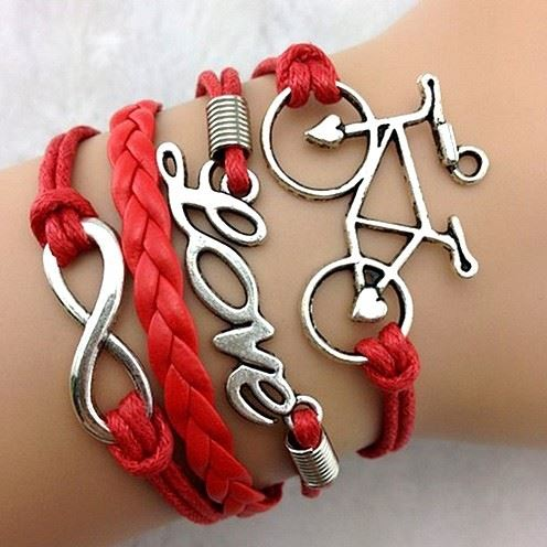 Red Bicycle PU Leather Bracelet Infinity