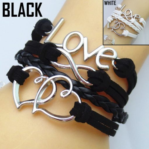 Leather Bracelets Heart infinity and Love