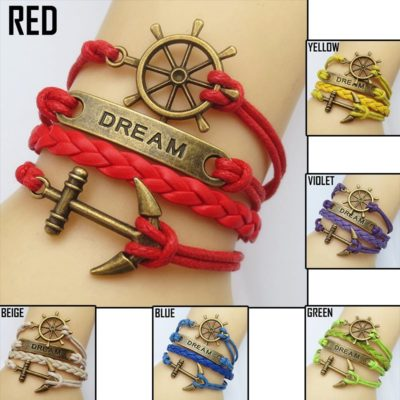 Leather Bracelet Anchor Dream