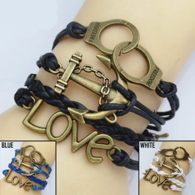 Handcuff Anchor Love PU Leather Bracelet