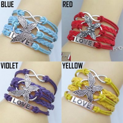 Butterfly Infinity Leather Bracelet