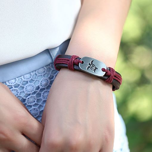 Handmade Leather Bracelets with Symbol Peace & Harmony