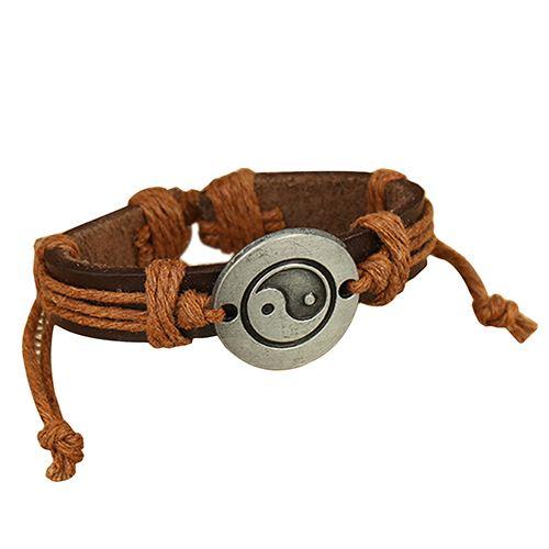 Light Brown Yin Yang Leather Bracelet