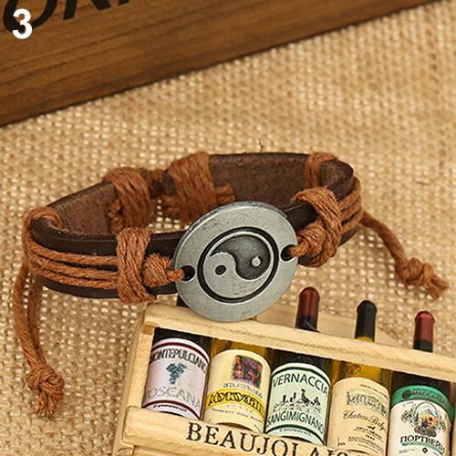 Brown Yin Yang Leather Bracelet