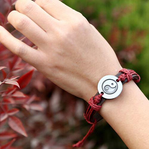 Red Yin Yang Leather Bracelet