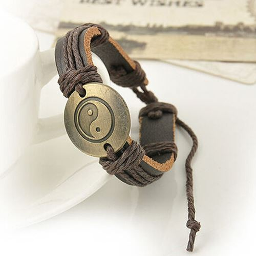Dark Brown Yin Yang Leather Bracelet