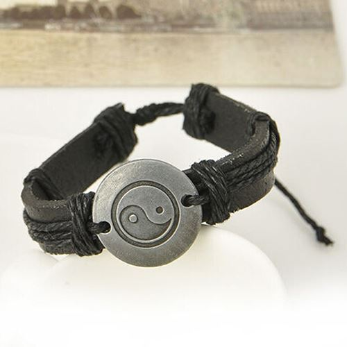Black Yin Yang Leather Bracelet